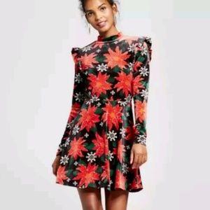 Xhiliration Poinsettia Holiday Velvet Skater Dress